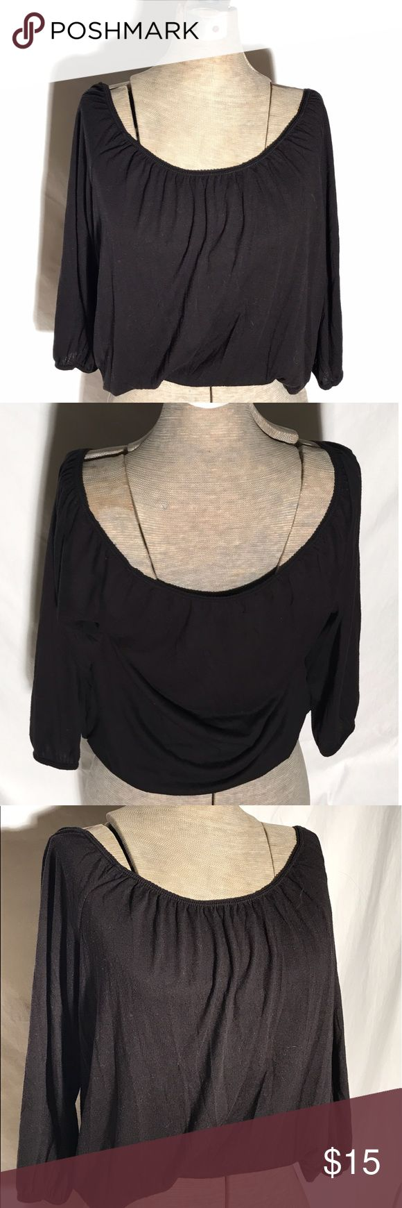 American eagle shirt Has elastic by neck and end of sleeves for a slouchy look. Super soft. Only worn a few times. In great shape! American Eagle Outfitters Tops