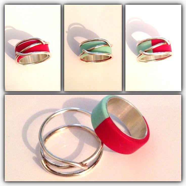 Ring kunststof met zilver. Kies zelf in welke kleuren samenstelling je de ring wilt laten maken!  Www.briolet.nl