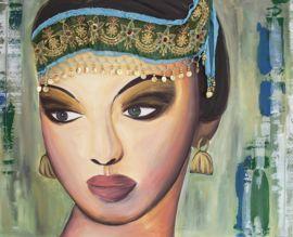 Schilderij van een Indiase bruid, bewerkt met echte stof uit India, afkomstig van een sari.