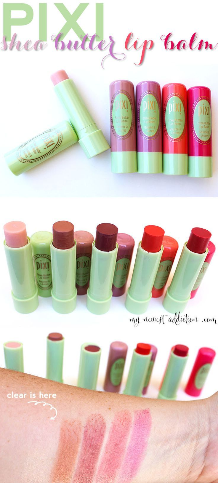 """""""Between the Shea Butter and the Vitamin E these Pixi Tinted Lip Balms one of the best, if not THE BEST, tinted lip balm I have ever tried."""" @makeupbylaurag loves them and we think you will too! http://www.mynewestaddiction.com/2014/06/pixi-shea-butter-lip-balm.html"""