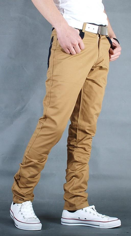 Men Fashion Vogue Contract Color Casual Jean Khaki Pants XS/S/M/L/XL/XXL@S5N04k