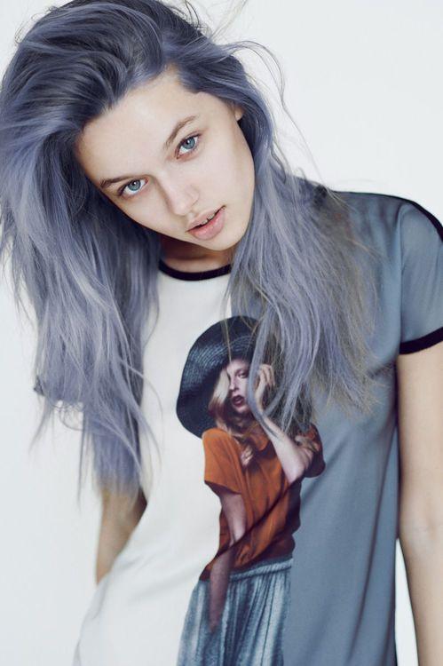 blue-gray hair