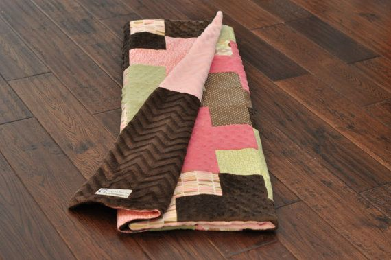Modern pink and brown baby girl quilt. Adorable and unique!