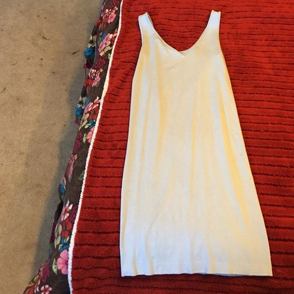 Sky Blue Extra Long Tank Top Amazing extra long tank top that can work as a fitted dress or slip. Color appears white, but is actually sky blue. Tops Tank Tops