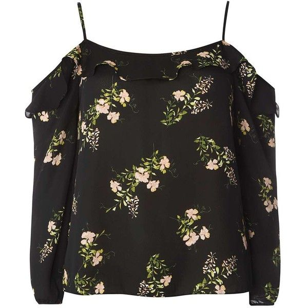 Dorothy Perkins Multi Coloured Blossom Print Strappy Bardot Top ($45) ❤ liked on Polyvore featuring tops, fl multi, frilly tops, frill top, flower print tops, spaghetti-strap tops and strappy top