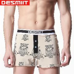 [ 48% OFF ] Button Boxer Shorts Homme Marque De Luxe Gay Men Underwear With Penis Pouch Mid Waist Print Mens Underwear Branded Boxers