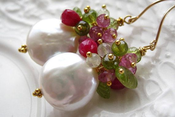 Coin Pearl sapphire Earrings -  Colorful coin Pearl cluster earring