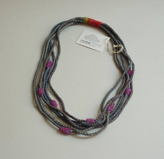 Textile jewelry multistrand necklace fabric necklace hand