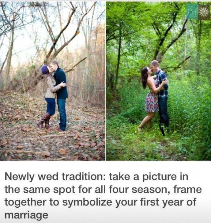Newly Wed Tradition Take A Picture In The Same Spot For All Four Seasons Frame Together To Symbolize Your Fi First Year Of Marriage Perfect Wedding Newlyweds