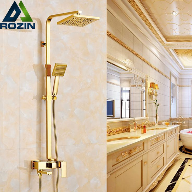 "Aliexpress.com : Buy Golden Luxury Bath Shower Mixers One Handle 8"" Rainfall Shower Faucet Set Wall Mounted with Hand Shower from Reliable mixer digital suppliers on rozin Official Store"