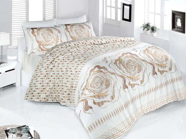 Pościel satynowa Valentini Bianco Limited Edition ROSE KREM, 160x200 + 2x 70x80 cm oraz 220x200 + 2x70x80 cm, 100% bawełna.