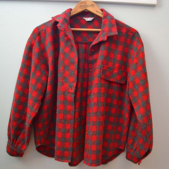 Vintage Red & Grey Plaid Button-Up Flannel Blouse by raggedwillow