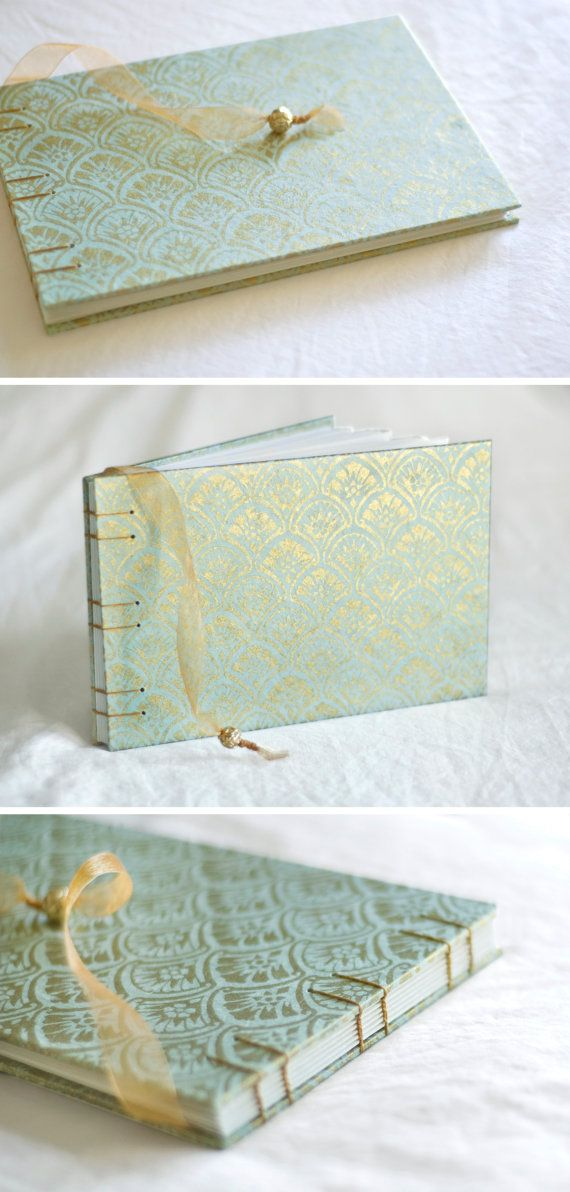 So pretty! Art deco gold blue guest book fan gingko leaves damask fan pool aqua sky wedding album, $39.50
