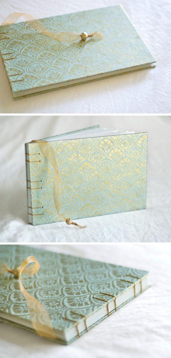 So pretty! Art deco gold blue guest book fan gingko leaves damask fan pool aqua sky wedding album, $39.50
