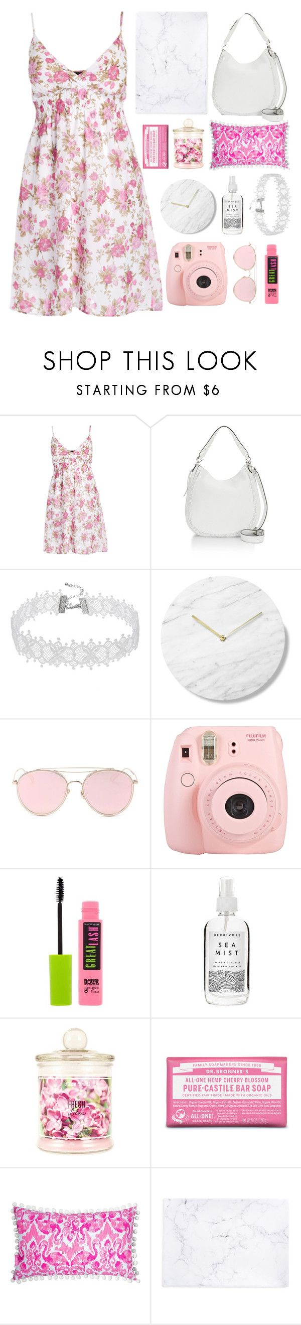 """""""Pink Petals"""" by madeline-jm ❤ liked on Polyvore featuring Rebecca Minkoff, LMNT, Fuji, Maybelline, Herbivore, Dr. Bronner's, Lilly Pulitzer, Recover and plus size dresses"""