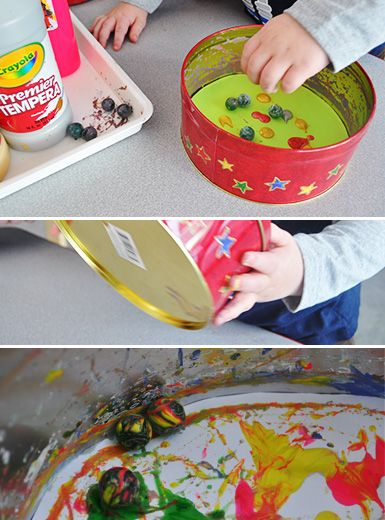 Marble Painting - Making Art with Children: A blog from The Eric Carle Museum Fun idea also fun driving small cars in paint and onto the paper.