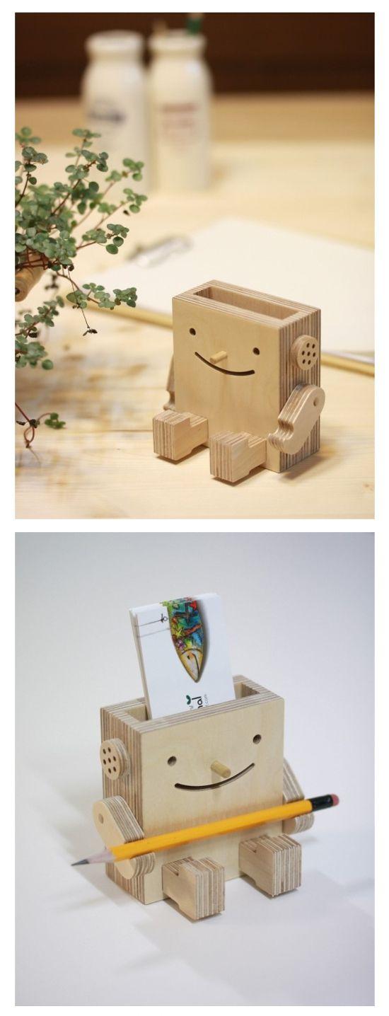 Wooden Robot Business Card Holder
