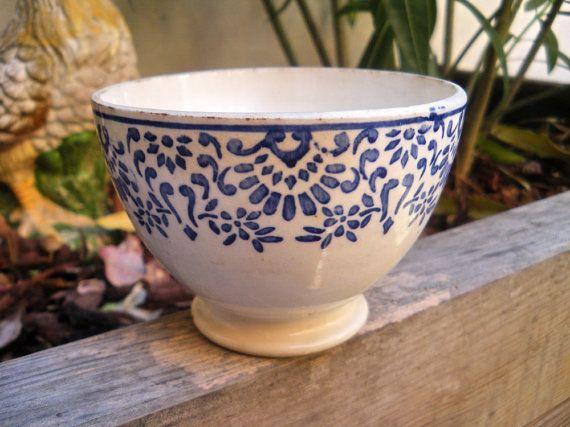 "Rare Vintage Small French Bowl Cafe au lait ""POCHOIR"" Digoin & Sarreguemines 1920"
