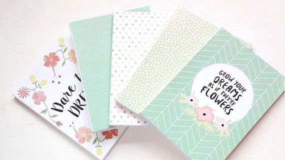 Notebook Journal Mint Collection  Pack 5 Notebooks by ClaraMatse on Etsy