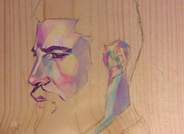 Liuminosity Works ‏@Vicki Liu #wip new portrait, celebrating the beard!!! Using my Winsor and Newton acrylics on wood board. #art #painting pic.twitter.com/XFaG95lbIZ