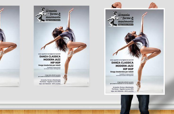 """Ideazione, realizzazioneestampadel manifesto promozionale 70×100 cm, della scuola di danza classica e moderna """"Armonia Forme & Movimento"""""""