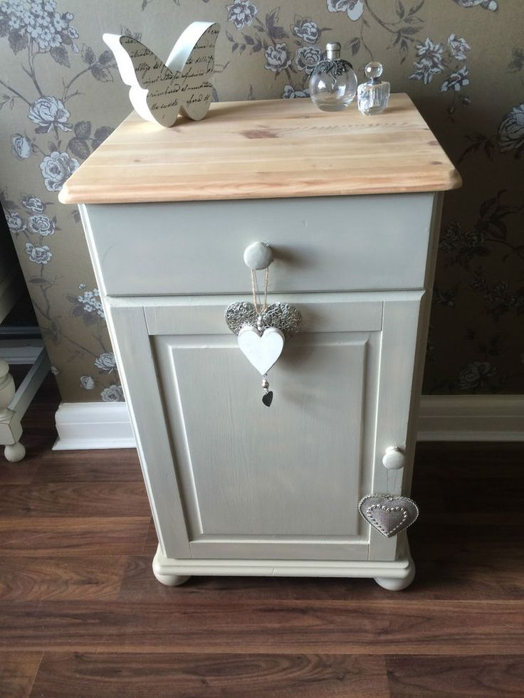 SHABBY CHIC BEDSIDE CABINET SIDE TABLE AND BALL Old White. This is my most popular pin. I painted a vintage coffee table in Hardwick White. See in my Home board.