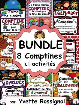 Nouvel ensemble complet! GRANDE variété d'activités avec mots usuels et structures de base...parfait pour le 1er cycle immersion ou francophone! ET, les élèves vont adorer ces comptines!