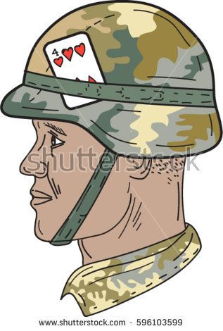 Drawing sketch style illustration of African American soldier wearing Us Army Kevlar combat helmet with camouflage cloth cover and four of hearts playing card attached to side isolated background. #soldier #drawing #illustration