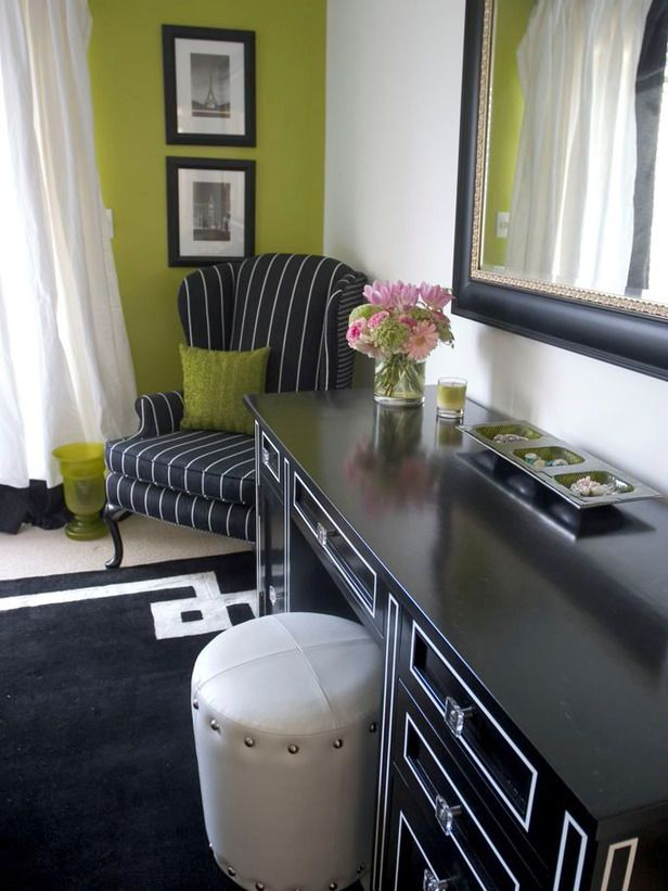 Black painted dresser with white trim.