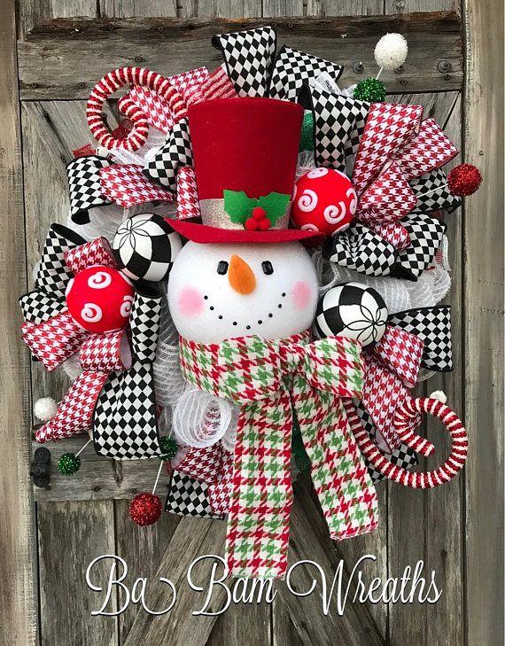 Snowman Wreath Snowman Decor Snowman Door Christmas Wreath Snowman Decorations Christmas Wreaths Christmas Door Hangings