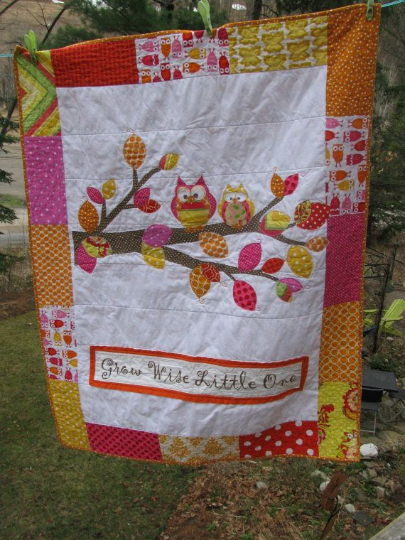 Owl baby quilt of flannel & cotton in Pink, Orange, Fuschia, Yellow and brown