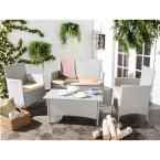 Safavieh Mojavi Gray 4-Piece Wicker Patio Seating Set with Beige Cushions