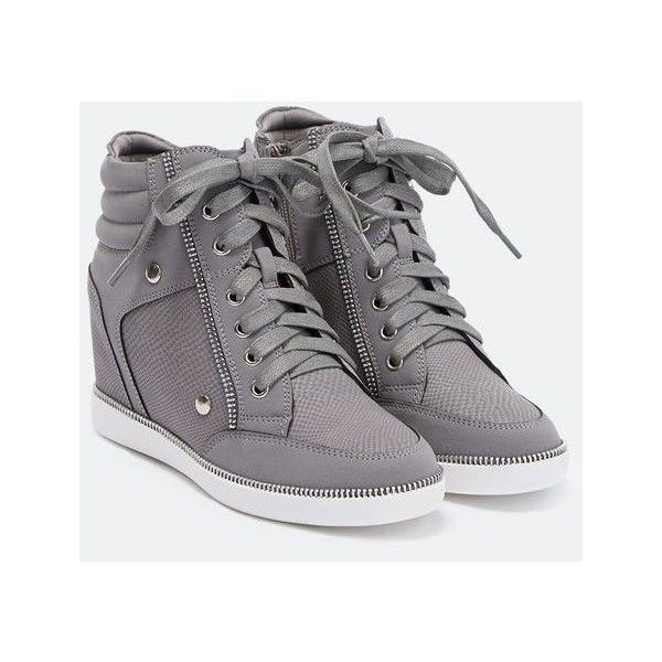 Justfab Sneakers Janis ($40) ❤ liked on Polyvore featuring shoes, sneakers, grey, studded wedge sneakers, high heel sneakers, high heeled footwear, platform shoes and high heel shoes