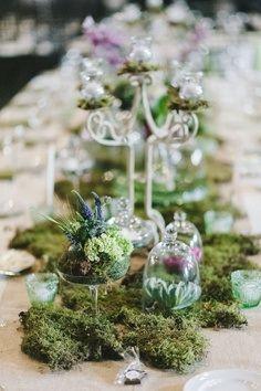 Centrepiece inspiration - moss spilling across table ...