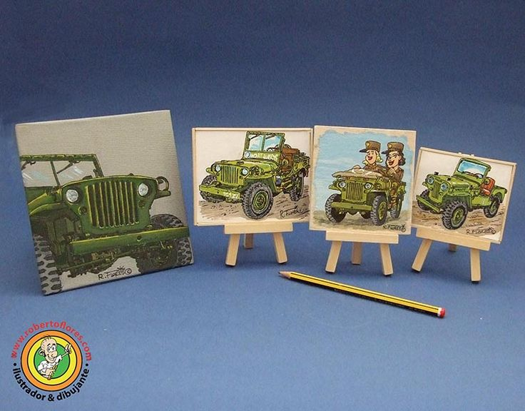 Some of my mini-canvas devoted to #Willys #jeep #cartoons.