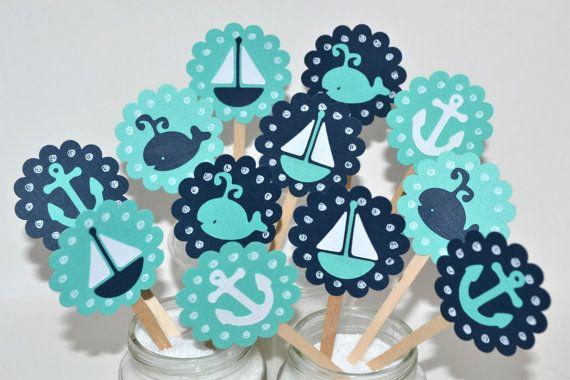 12 Toppers Cupcake náutica / velero Cupcake por sunshowerstuff