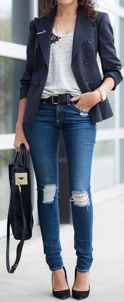 Theory Navy Women's Pinstripe Blazer by Alterations Needed