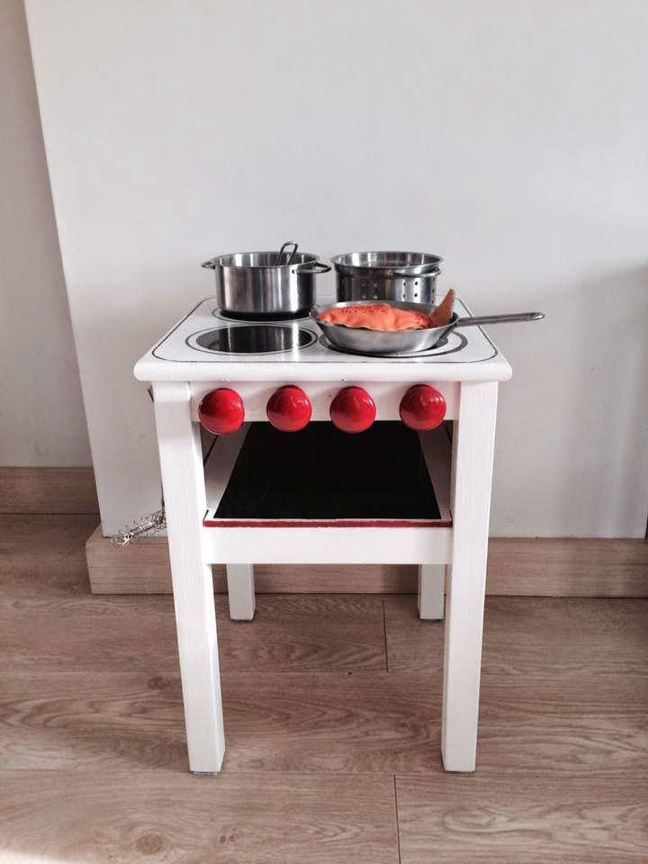 I am so getting my husband to make it for my kids - mommo design: IKEA HACKS - mini kitchen from IKEA stool