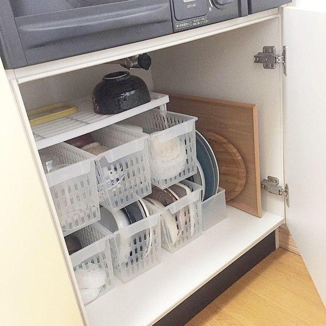 1人暮らしのシンク下収納 100均で食器収納 シンク下 収納 100均