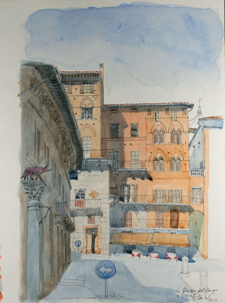 Sitting in the Piazza del Campo sketching some of the beautiful medieval red brick buildings that surround it.