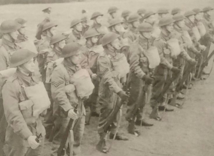 Early RAF Regiment Gunners with instructors at the rear