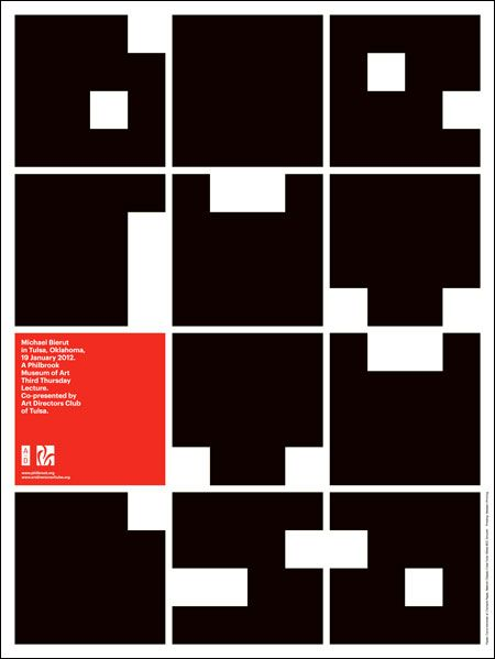 """philbrook museum of art identity - The """"P"""" of the identity can be extended into an alphabet, as in this poster promoting a lecture by Michael Bierut at the museum."""