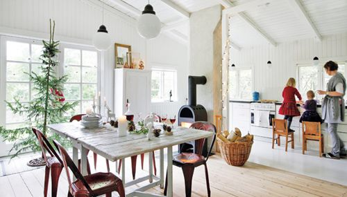 airy white danish cottage. the epitome of what a simple family Christmas truly should be! raw wood floors and white walls and ceiling. I'd trim our tree down to look like this if the kids would let me. I am getting closer every year!