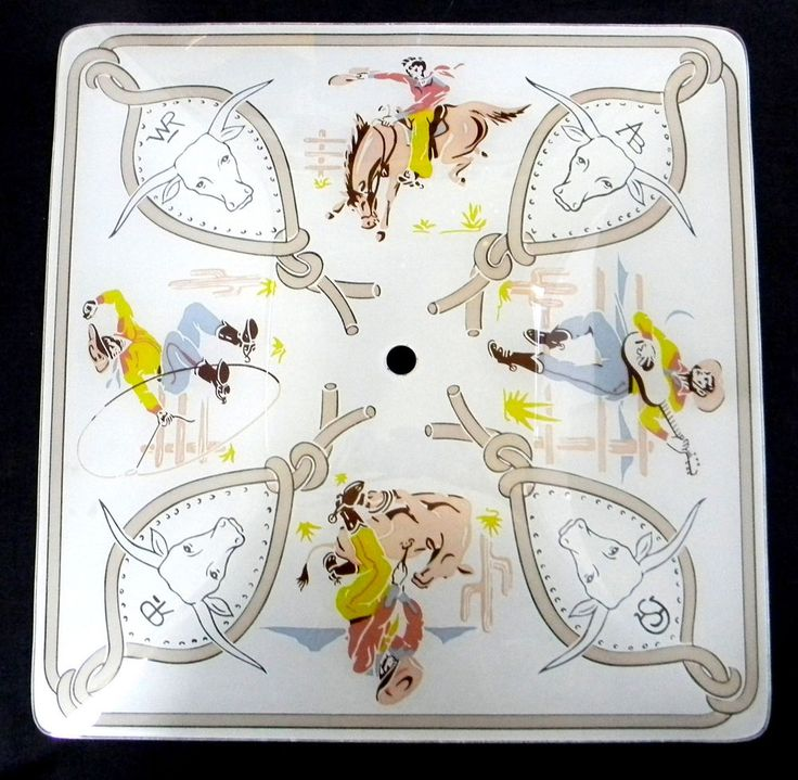 ceiling light cover glass cowboys steers brands lasso horses rare vtg
