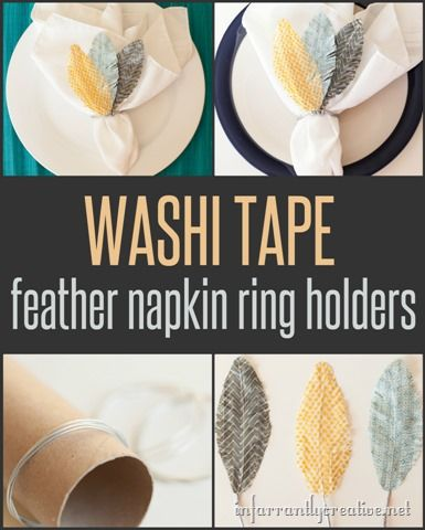 DIY CRAFTS | Washi Tape Napkin Rings ~ Dress up your table with these simple DIY napkin rings made from washi tape. The kids can even help!