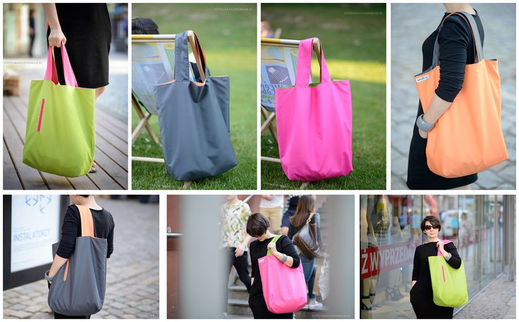 Large, packable shoulder bag, XXL size Made from waterproof fabric. 2 COLOUR = 4 BAGS - you can wear as you like!