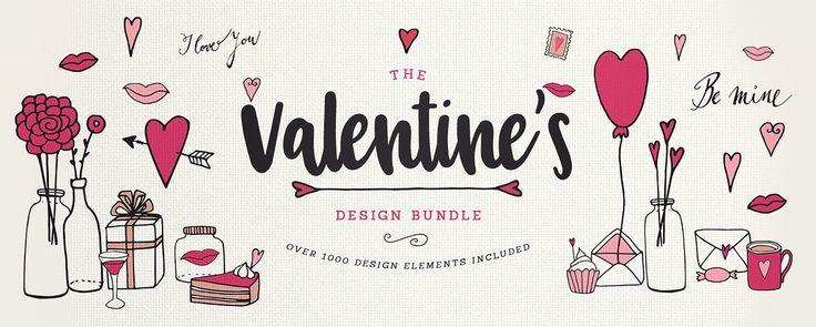Valentine Design Bundle Huge Valentine Bundle (over 1000 fonts, patterns, graphic elements) from Designbundles for 29$ only #bundle #valentine #fonts #love