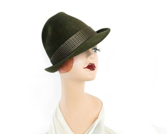 efe45262d5f Vintage trilby fedora hat, Lembert Germany, dark green tilt | The ...