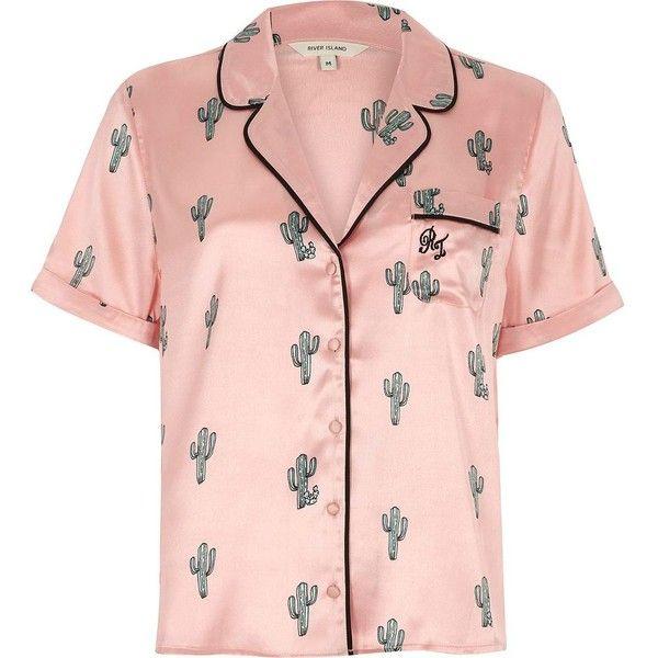 River Island Pink cactus print short sleeve pajama shirt ($36) ❤ liked on Polyvore featuring intimates, sleepwear, pajamas, lingerie & sleepwear, pajamas / loungewear, pink, women, satin pjs, satin pajamas and pink satin pajamas