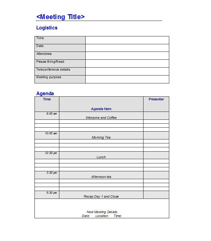 46 Effective Meeting Agenda Templates ᐅ With Images Meeting